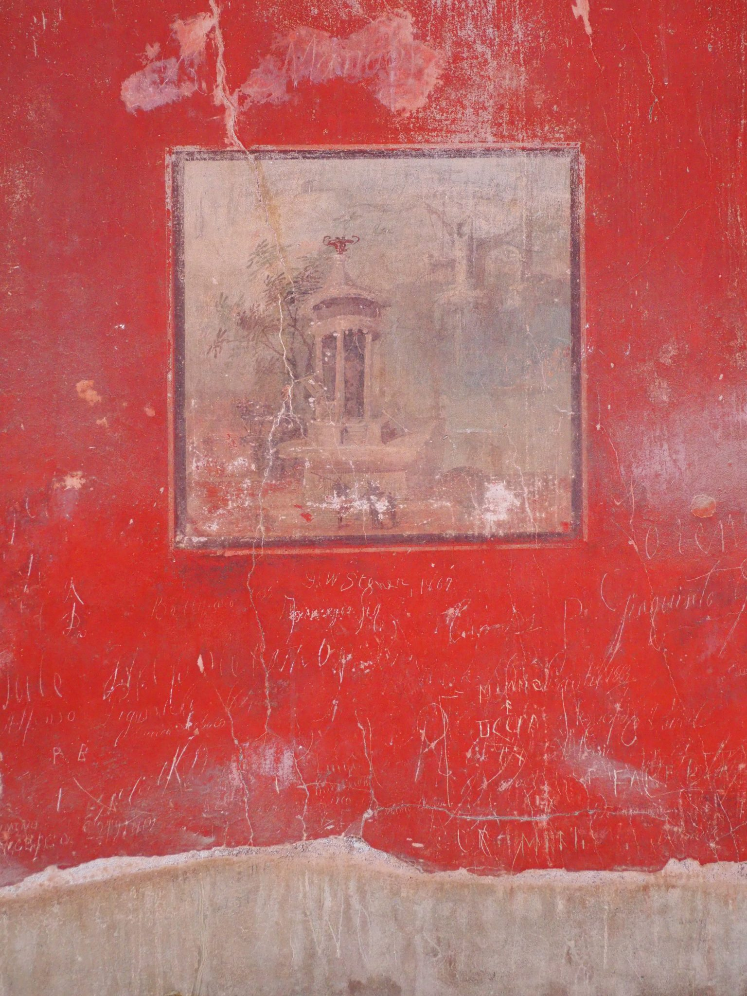 Fresco With Modern Graffiti