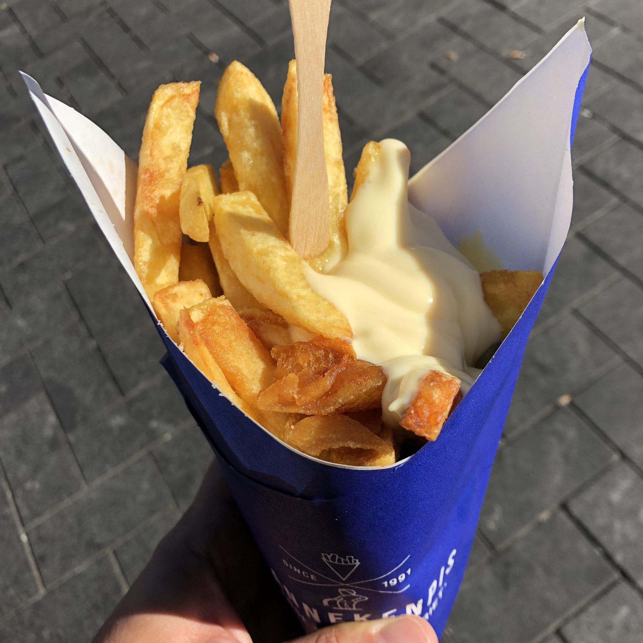 Delicious Dutch Fries And Mayo From Mannekenpis, Amsterdam